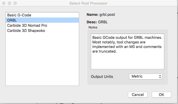 carbide create select post processor