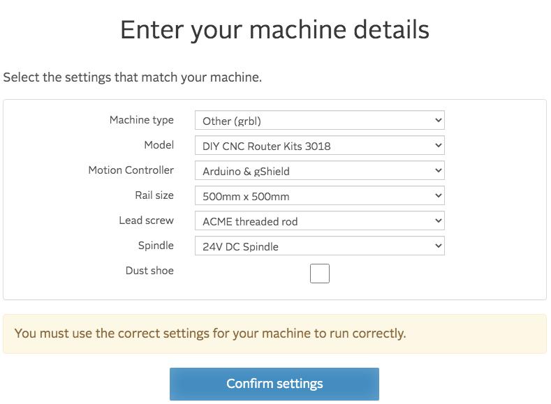 easel enter machine details